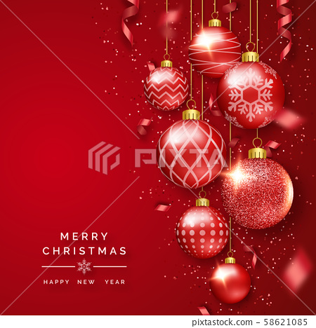 Christmas background with shining ribbons, confetti and colorful balls. New year and Christmas card 58621085