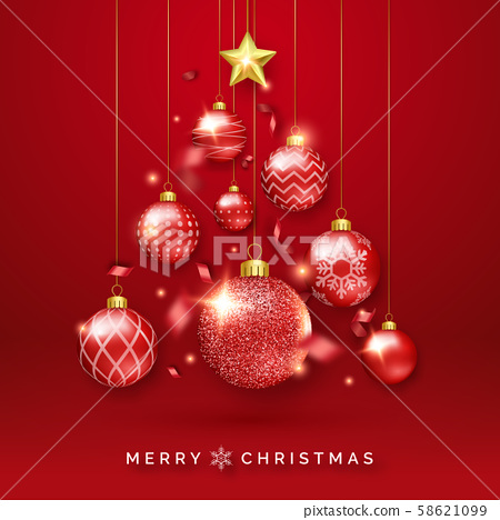 Christmas tree background with shining ribbons, star and colorful balls. New year and Christmas card 58621099