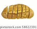 sliced breads over white 58622391