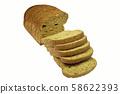sliced breads over white 58622393