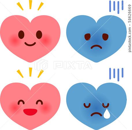 Heart character facial expression illustration set 58626669