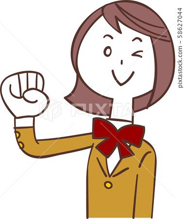승리의 포즈하는 베이지 색 재킷을 입은 여학생 58627044