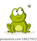 Cartoon Frog With Bee 58627932