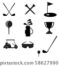 golf icon set on white background. flat style. golf and equipment  symbol. golf sign.  58627990