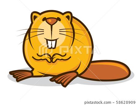 Cartoon cute little beaver character with big teeth smiling - vector mascot character 58628909
