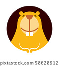 Cartoon cute little beaver character smiling with big teeth - vector character pictogram 58628912