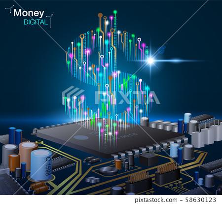 Electronic digital money background. vector EPS10 58630123
