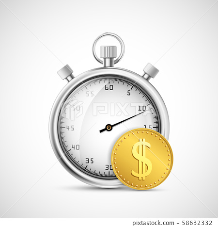 Timer or stopwatch icon next to a gold dollar coin 58632332