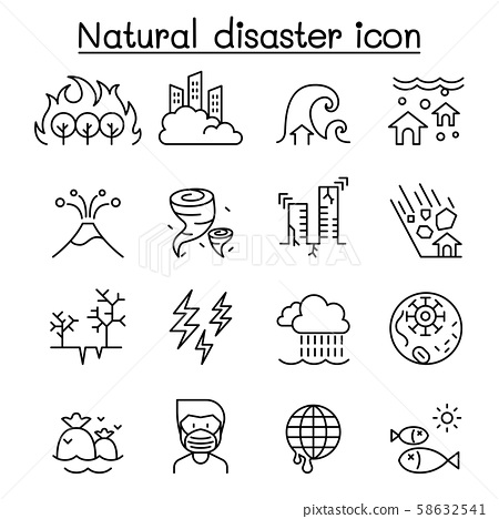 Disaster icon set in thin line style 58632541