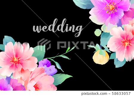 優雅美麗的水彩手繪玫瑰花花卉 58633057