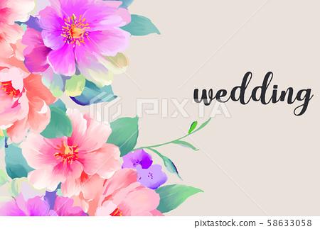 優雅美麗的水彩手繪玫瑰花花卉 58633058