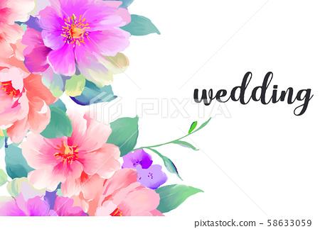 우아한 아름다운 수채화 자유형 장미 꽃 58633059