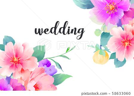 優雅美麗的水彩手繪玫瑰花花卉 58633060