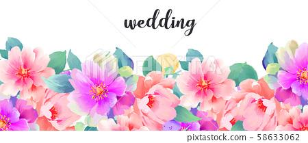 優雅美麗的水彩手繪玫瑰花花卉 58633062