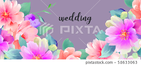 優雅美麗的水彩手繪玫瑰花花卉 58633063