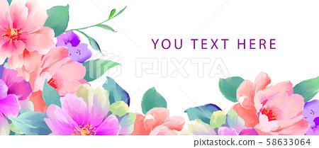 優雅美麗的水彩手繪玫瑰花花卉 58633064