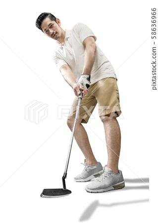 Asian man swing the putter golf club 58636966
