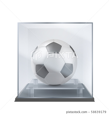 Soccer ball under glass case realistic vector 58639179