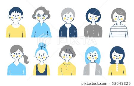 여성 10 명 상반신 세트 58645829