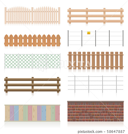 Different Fences Railings Wall Set 58647887