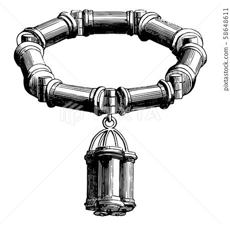 Bracelet is formed with silver links, vintage 58648611