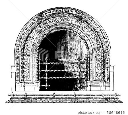 Fireplace, warmth,  vintage engraving. 58648616