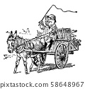 Pig Driving Car Pull By Donkey, vintage 58648967