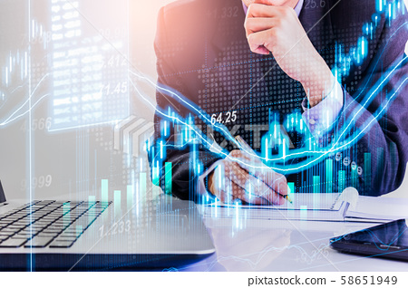Stock market or forex trading graph and candlestick chart suitable for financial investment concept. Economy trends background for business idea and all art work design. Abstract finance background. 58651949