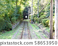 This is a picture of a cable car ride on Mt. Takao in Hachioji, Tokyo. 58653950