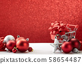 Christmas sales decoration red bokeh background 58654487