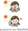 中暑措施女孩面部表情圖案插圖集 58658008