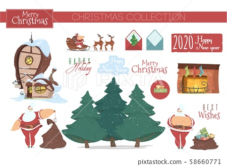 Cute Collection of Icons and Clip Art Elements 58660771