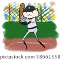 Dog baseball player (batter, black and gray uniform in vertical lines) 58661558