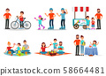 Parents and Children Characters Spending Time Together Outdoor Vector Illustrated Set. 58664481
