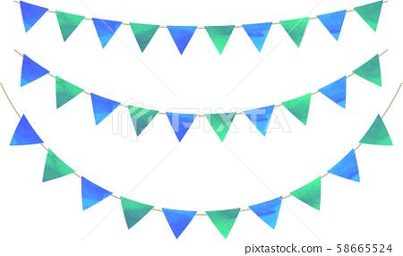 Flag_triangle_garland_watercolor_green_blue_blue-green_flag-garland 58665524