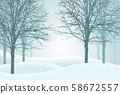 Vector illustration of winter forest with snow and 58672557