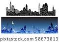 도시의 야경 · 아름다운 야경 · 도시 빌딩의 실루엣 58673813