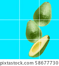 Collage of green organic avocado on light blue background with copy space. Photography collage. 58677730