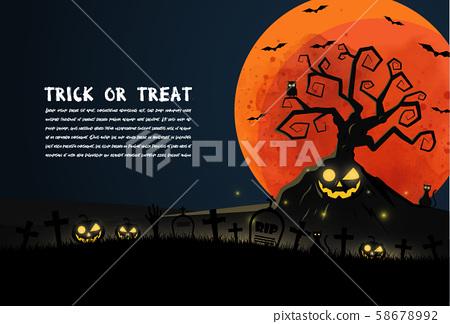 flat design Halloween background with graveyard 58678992