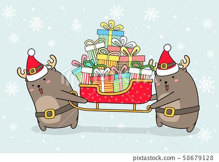 Kawaii reindeers are lifting sleigh vehicle 58679128