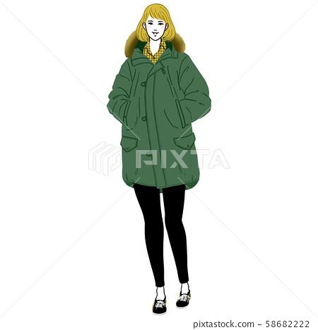 이쪽으로 다가 코트를 입은 젊은 여성 58682222