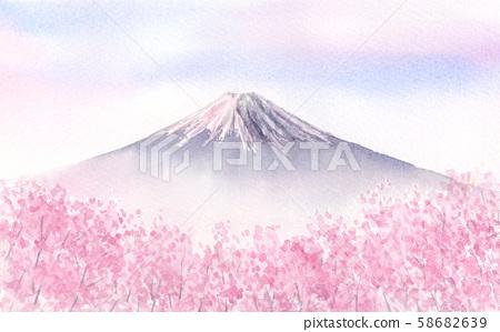 후지산과 만개 한 벚꽃 수채화 일러스트 58682639