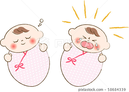 Crying Baby And Sleeping Baby Stock Illustration 58684339 Pixta