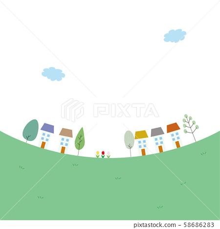 귀여운 집과 나무와 들판의 일러스트 58686283