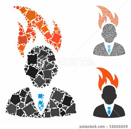 Burn businessman head Mosaic Icon of Inequal Elements 58688809