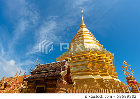 Wat Phra That Doi Suthep with blue sky in Chiang Mai 58689582