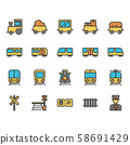 Train stations related icon set 58691429