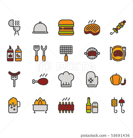 Barbecue related icon set.Vector illustration 58691436