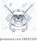 Hippie skull with hair 58695309
