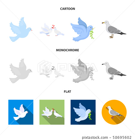 Isolated object of flying and dove symbol. Collection of flying and carrier vector icon for stock. 58695602